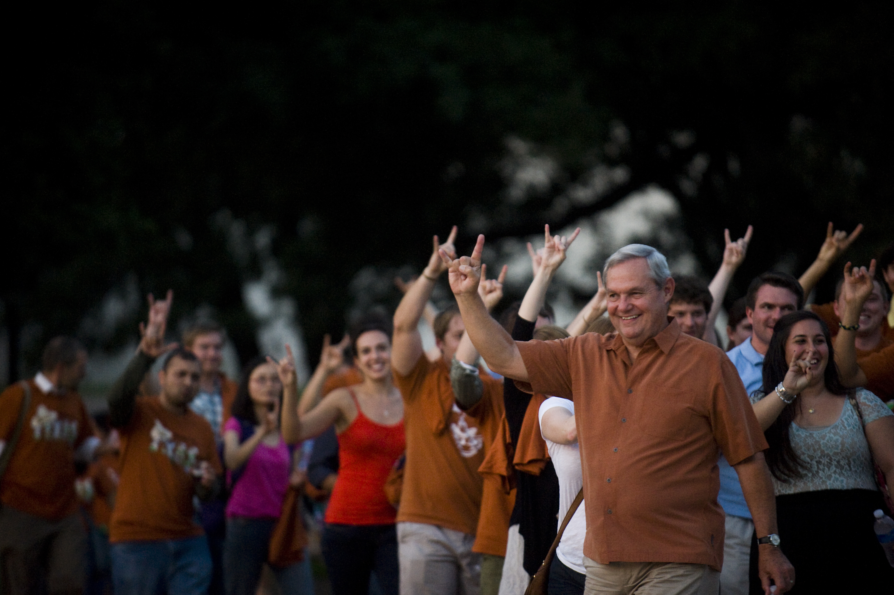 Dean Robert Hutchings leads the March to Main during Gone to Texas.