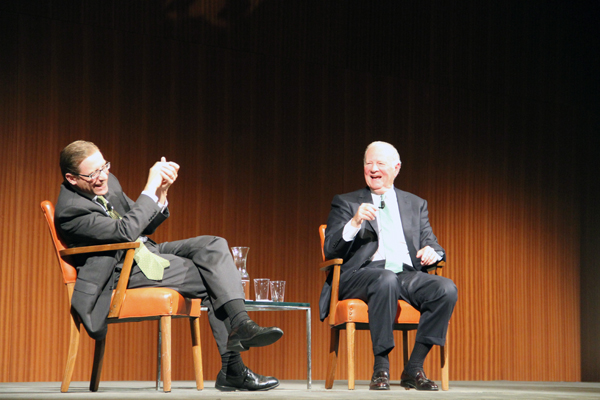 Former U.S. Secretary of State James Baker and Evan Smith, CPG Center Fellow, CEO of the Texas Tribune