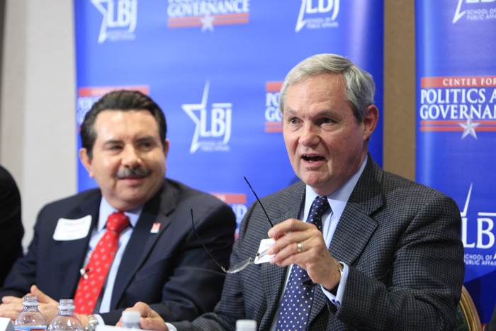 Antonio Flores, President and CEO of the Hispanic Association of Colleges and Universities, and Dean Robert Hutchings, participate in a panel on Hispanics and higher education