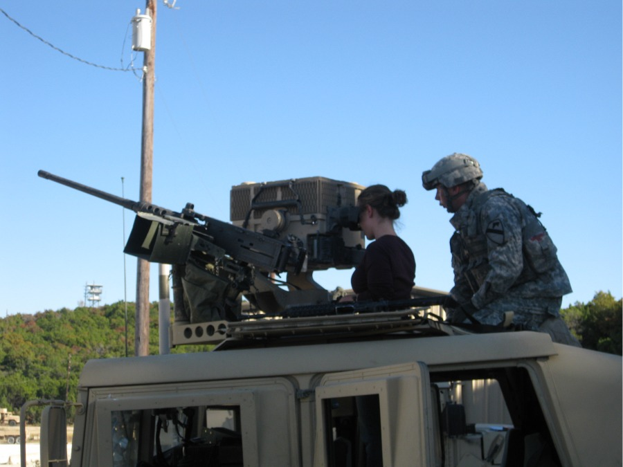 Student Trains on Armored Vehicle at Fort Hood
