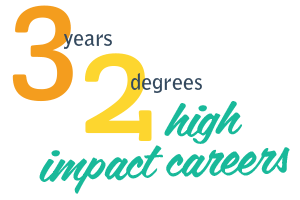 3 years, 2 degrees, high impact careers