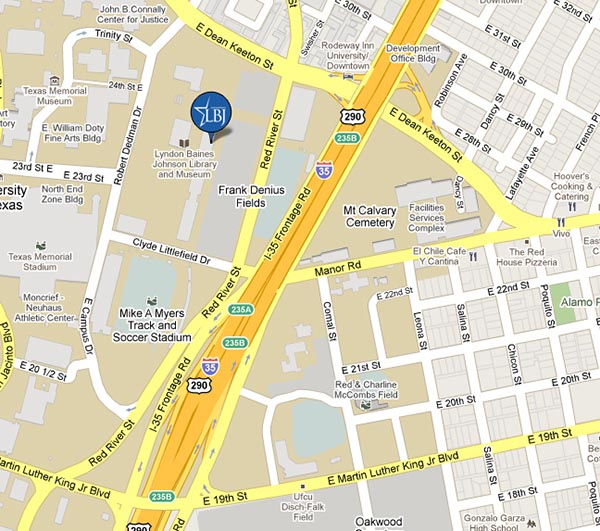 A map shows LBJ School's location on Red River Street, just south of Dean Keeton.
