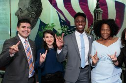 LBJ students Aaron Escajeda, Sarah Gonzalez Claytor and Joel Carter with BJNF keynote speaker Jehmu Greene, LBJ Dean Angela Evans and Professor Victoria DeFrancesco Soto