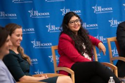 LBJ Professor Victoria DeFrancesco Soto moderates the DACA Policy Briefing on Sept. 10, 2019. Panelists Alejandra Apecechea of King & Spalding LLP, LBJ School student Juany Torres (MPAff '21) and Brian Stansbury, also of King & Spalding LLP