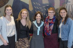 LBJ students Emma Nye, Alex Abbot, Patricia Hart and Katy Quan with Professor Jacqui Angel (center)