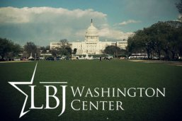 LBJ Washington Center logo in front of Capitol Building