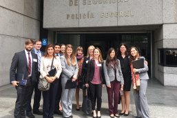 Master of Global Policy Studies students outside the Comision Nacional de Seguridad
