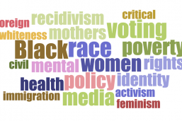 Word Cloud including: Voting, Women Rights, Health Policy, Immigration, etc.