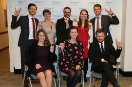 Eight LBJ Schoolers celebrate their DC Concentration graduation in Washington.