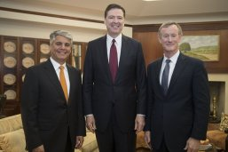 UT President Greg Fenves, FBI Director James Comey and UT System Chancellor Admiral Bill McRaven
