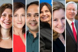 Eight LBJ School faculty who will be at NASPAA 2019: Jenny Knowles Morrison, Sherri Greenberg, Varun Rai, Dean Angela Evans, Kate Weaver, Don Kettl, Bill Shute, Victoria DeFrancesco Soto