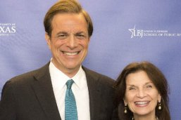 Presidential historian and author Michael Beschloss with LBJ School Dean Angela Evans