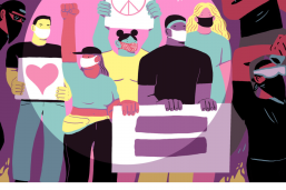"Illustration of protests for NPR's ""Code Switch"" by LA Johnson"