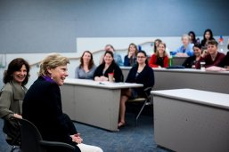 Cokie Roberts with students at the LBJ School
