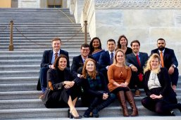 The 2020 cohort of LBJ DC Fellows on the steps of the U.S. Capitol