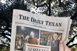 Cover of The Daily Texan featuring the Semester in Review, including a photo of Joe Biden and Dean Angela Evans