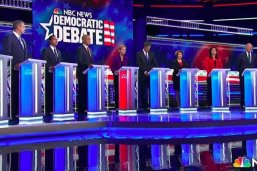 Screen shot of the first Democratic presidential debate in June 2019