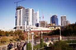Downtown Austin skyline with construction cranes