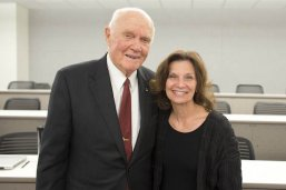 Dean Angela Evans with John Glenn on his visit to the LBJ School