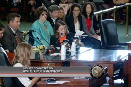 LBJ student Margaret Hennessy testifies at a Texas State Senate Health and Human Services Committee hearing.