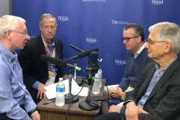 Donald Kettl, Martin O'Malley, Stephen Goldsmith and Robert Shea record at the LBJ School.