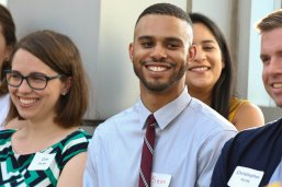 The 2019 class of LBJ DC Fellows is introduced at the Dean's Annual DC Alumni Reception in August. Left to right: Emma Nye, Cara Pavlak, Sean Walker, Christopher Purdy. Back row: Sara Plasencia