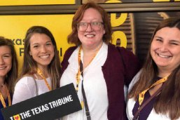 LBJ students Kat Sisler, Annie Henson, Terri Parlett and Lucia Montes at the 2018 Texas Tribune Festival