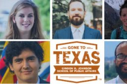 LBJ students Caitlin Casassa, Stephen Fox, Megan Morris, Jaime Cabrera and Fred Rodriguez