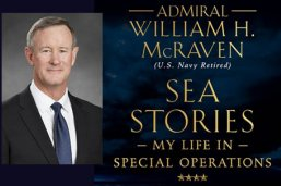 """Adm. William McRaven and the cover of his book, """"Sea Stories"""""""