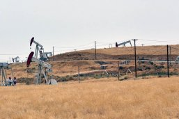 Oil derricks in a field