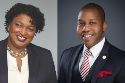 Stacey Abrams (MPAff '98) and Rudy Metayer (EMPL '16), recipients of the 2019 LBJ Outstanding Alumni Awards