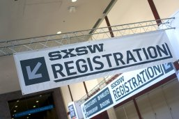 SXSW registration sign