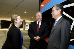 LBJ student Richelle Ramey meets Ambassador He Yafei (right) and CPPC Director David J. Firestein (center)