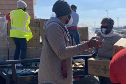 Matt Worthington (MPAff '20), volunteered with a group distributing water in Del Valle