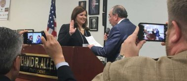 LBJ School alumna Lillie Schechter is sworn in as Harris County's Democratic Party chair.