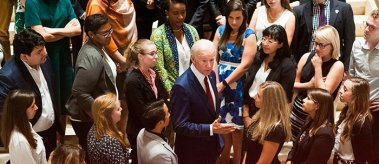 Joe Biden speaks with LBJ School of Public Affairs students as part of an exclusive meet and greet