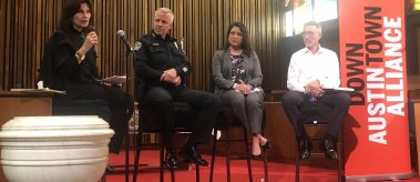 LBJ Dean Angela Evans moderates a conversation about homelessness with APD Chief Brian Manley, Veronica Briseño of the City of Austin and Bill Brice of the Downtown Austin Alliance