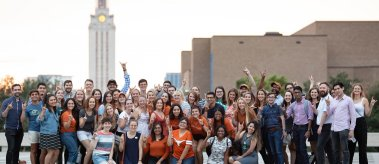 The incoming LBJ School class celebrates the 2019 Gone to Texas