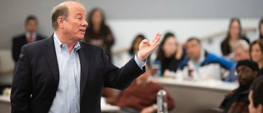 Detroit Mayor Mike Duggan talks with LBJ students and members of the community during a Dean's Distinguished Leaders Series conversation on Nov. 13, 2019