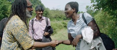 """Raj Patel (center) with the Malawian climate change activists featured in """"The Ants and the Grasshopper"""""""
