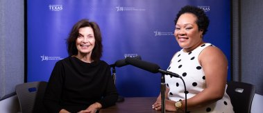 Dean Evans and Yamiche Alcindor record a new episode of the LBJ School's podcast
