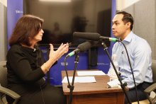 Julian Castro and Angela Evans record a podcast